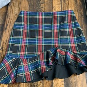 Zara plaid asymmetrical skirt